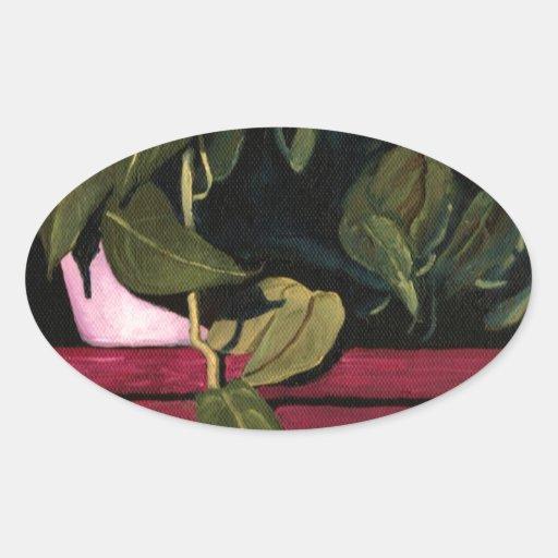 Planta en la noche pegatina de óval