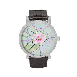 planta floral colorida del bosquejo de la flor de  reloj de mano