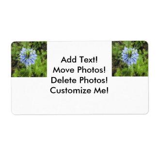 Planta floreciente del verde azul de Nigella Etiqueta De Envío