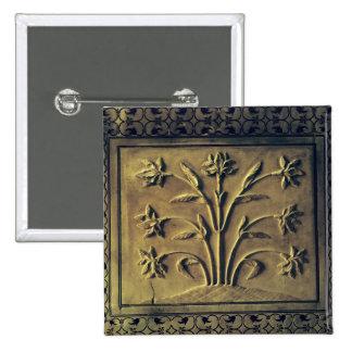 Planta floreciente, el panel del detalle pin cuadrado