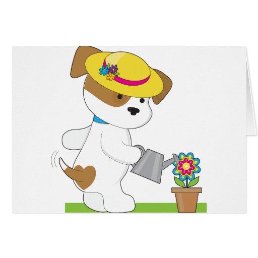 Planta linda del perrito felicitaciones