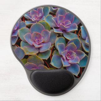Planta suculenta púrpura del cactus del verde azul alfombrilla de raton con gel