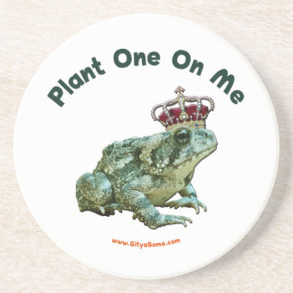 Planta una en mí beso del sapo de la rana posavasos de arenisca