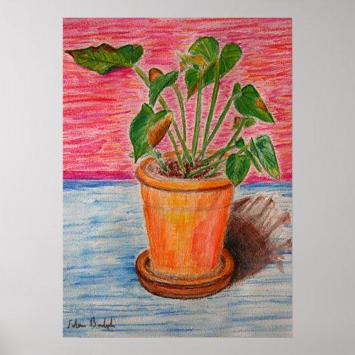 Planta verde en rosado y el azul - todavía vida póster