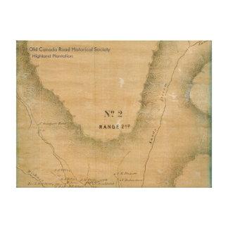 Plantación de la montaña, Maine - mapa 1860 Impresión En Lienzo Estirada