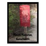 Plantación de Plimoth, Massachusetts Tarjeta Postal