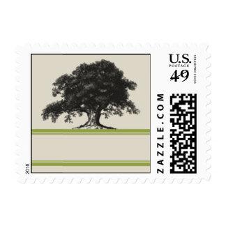 Plantación del roble en verde sellos postales