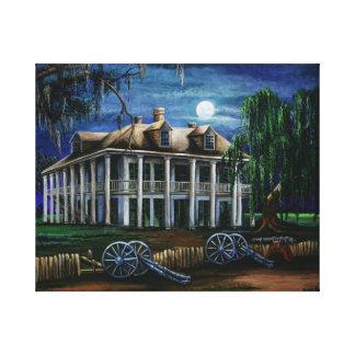 Plantación iluminada por la luna lienzo envuelto para galerias