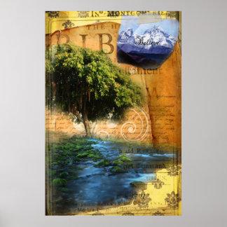 Plantado por el agua póster