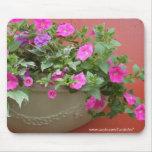 Plantador rosado de las petunias alfombrilla de raton