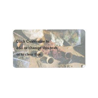 Plantadores y musgo de turba etiqueta de dirección