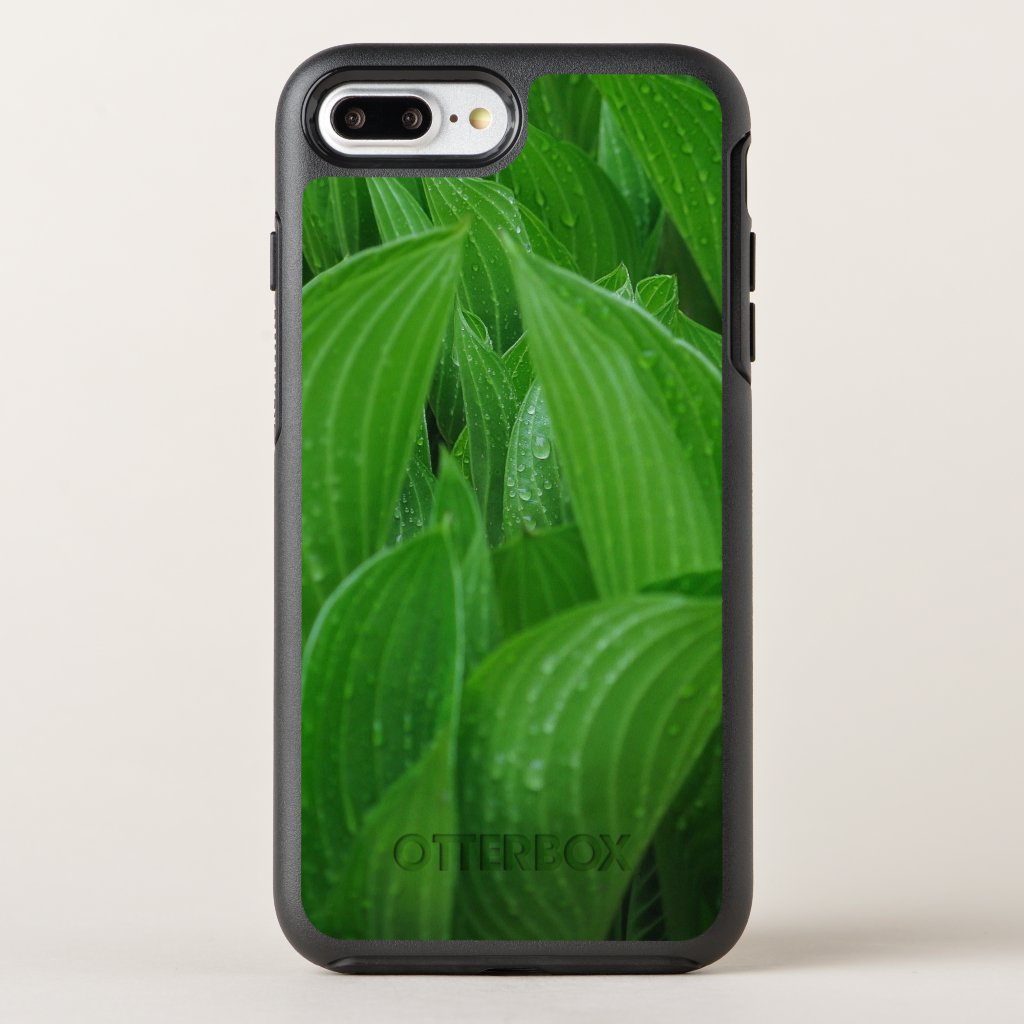 Plantain Lily Leaves with Raindrops OtterBox Symmetry iPhone 7 Plus Case