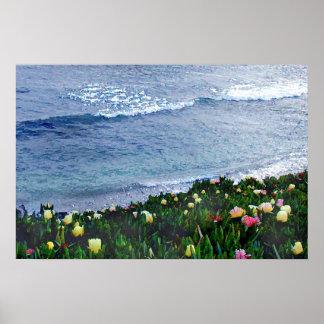 Plantas de hielo de la playa póster