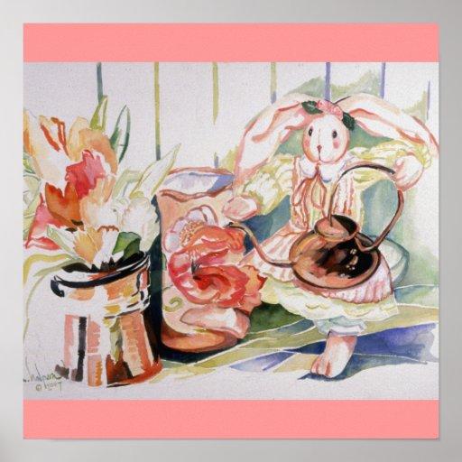 Plantas de Srta. Essie Bunny Watering Her Póster