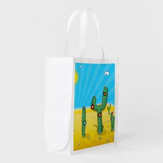 Plantas del cactus del desierto del dibujo animado bolsa para la compra