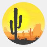 Plantas del cactus en desierto pegatina redonda