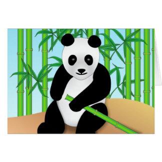 Plantas del oso y del bambú de panda tarjeta de felicitación