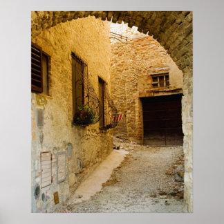 Plantas en las cajas de ventana San Gimignano Si Poster