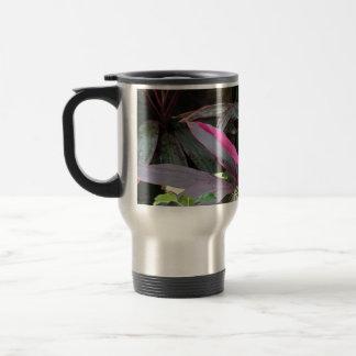 plantas frondosas coloridas taza de viaje de acero inoxidable