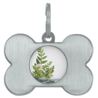 Plantas, guijarros, y flores de Clipart Placa De Mascota