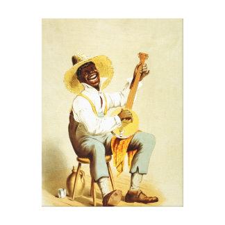 Plantation Banjo Player African American Art Canvas Print
