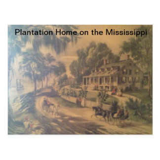 Plantation Home on the Mississippi river. Postcard