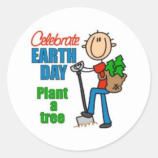 Plante a los pegatinas de un árbol pegatina redonda