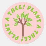 Plante a los pegatinas de un árbol etiqueta redonda