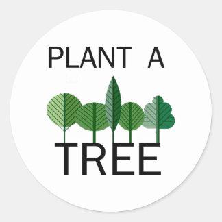 ¡Plante un árbol! ¡Diseños de la ecología! Pegatina Redonda