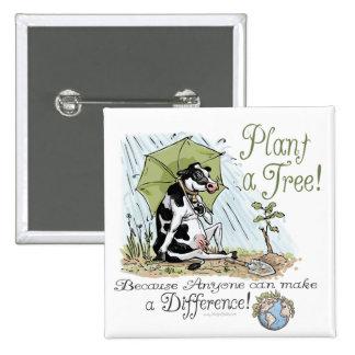 Plante un engranaje de la vaca del Día de la Tierr Pin Cuadrado
