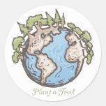 Plante un engranaje del Día de la Tierra del árbol Pegatina Redonda