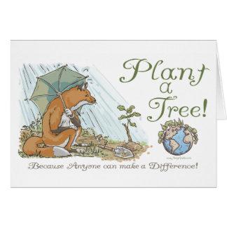 Plante un engranaje del Fox del Día de la Tierra d Tarjeta