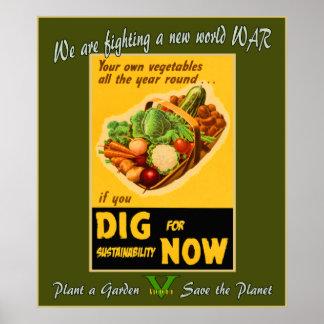 Plante un jardín - ahorre el planeta póster