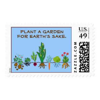 Plante un jardín para el motivo de la tierra sellos