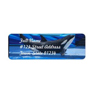 Planteamiento de etiquetas de correo de la orca etiqueta de remite
