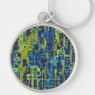 Plantilla abstracta de los verdes azules llavero redondo plateado