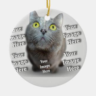Plantilla adaptable cariñosa de la foto del adorno navideño redondo de cerámica