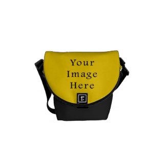 Plantilla amarilla brillante del espacio en blanco bolsas messenger