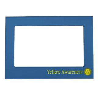Plantilla amarilla de la cinta de la flor de marcos magneticos para fotos
