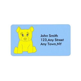 Plantilla amarilla de la etiqueta del oso etiquetas de dirección