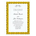 Plantilla amarilla de la invitación del boda