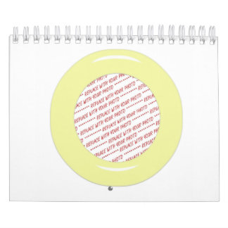 Plantilla amarilla del marco de la foto del anillo calendario de pared