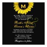 Plantilla amarilla y negra brillante del boda del comunicados