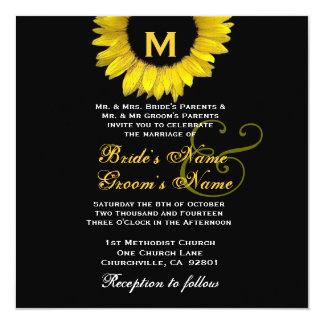 Plantilla amarilla y negra brillante del boda del invitación 13,3 cm x 13,3cm