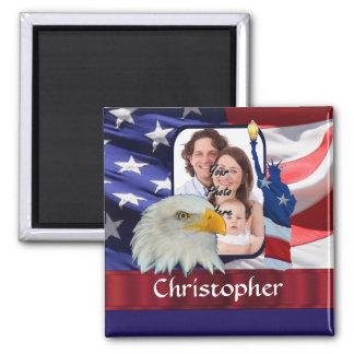 Plantilla americana patriótica de la foto del icon iman de nevera