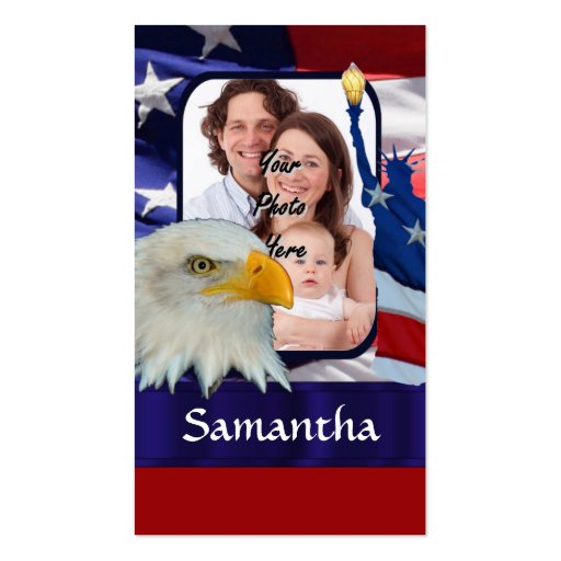 Plantilla americana patriótica de la foto plantillas de tarjeta de negocio