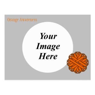 Plantilla anaranjada de la cinta de la flor postales