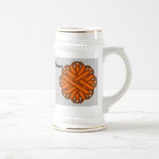 Plantilla anaranjada Stein de la cinta de la flor Jarra De Cerveza