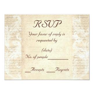 """Plantilla antigua de la tarjeta de RSVP de la hoja Invitación 4.25"""" X 5.5"""""""