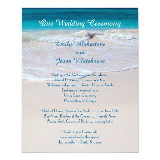Plantilla asequible del programa del boda de playa flyer a todo color
